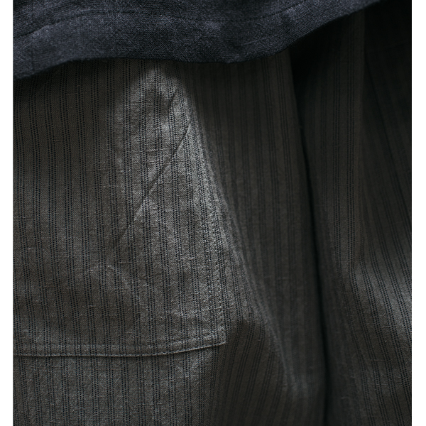Slate Stripe Linen/Cotton Pants with Pockets £128