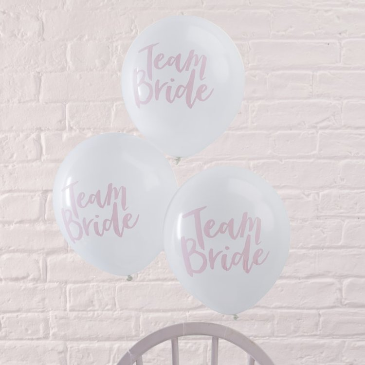 4b092a7d502064 Team Bride  White   Pink Bridal Shower Balloons — Style That Party