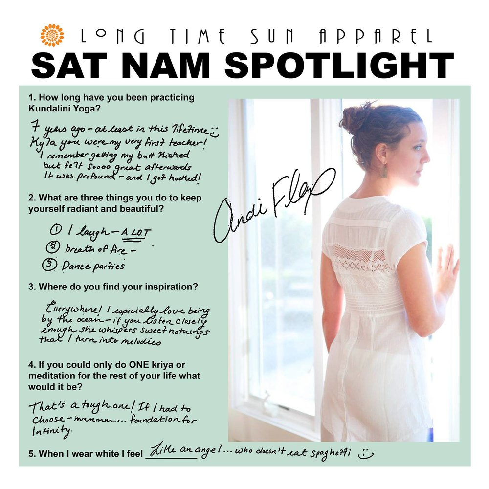 Andi Flax - Long Time Sun Sat Nam Spotlight