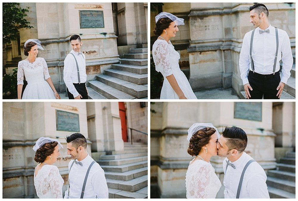 Kalamazoo michigan elopement wedding first look