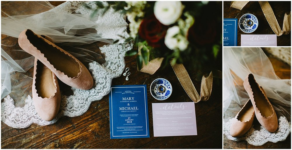 Wedding invitation flatlay Goei Center Grand Rapids