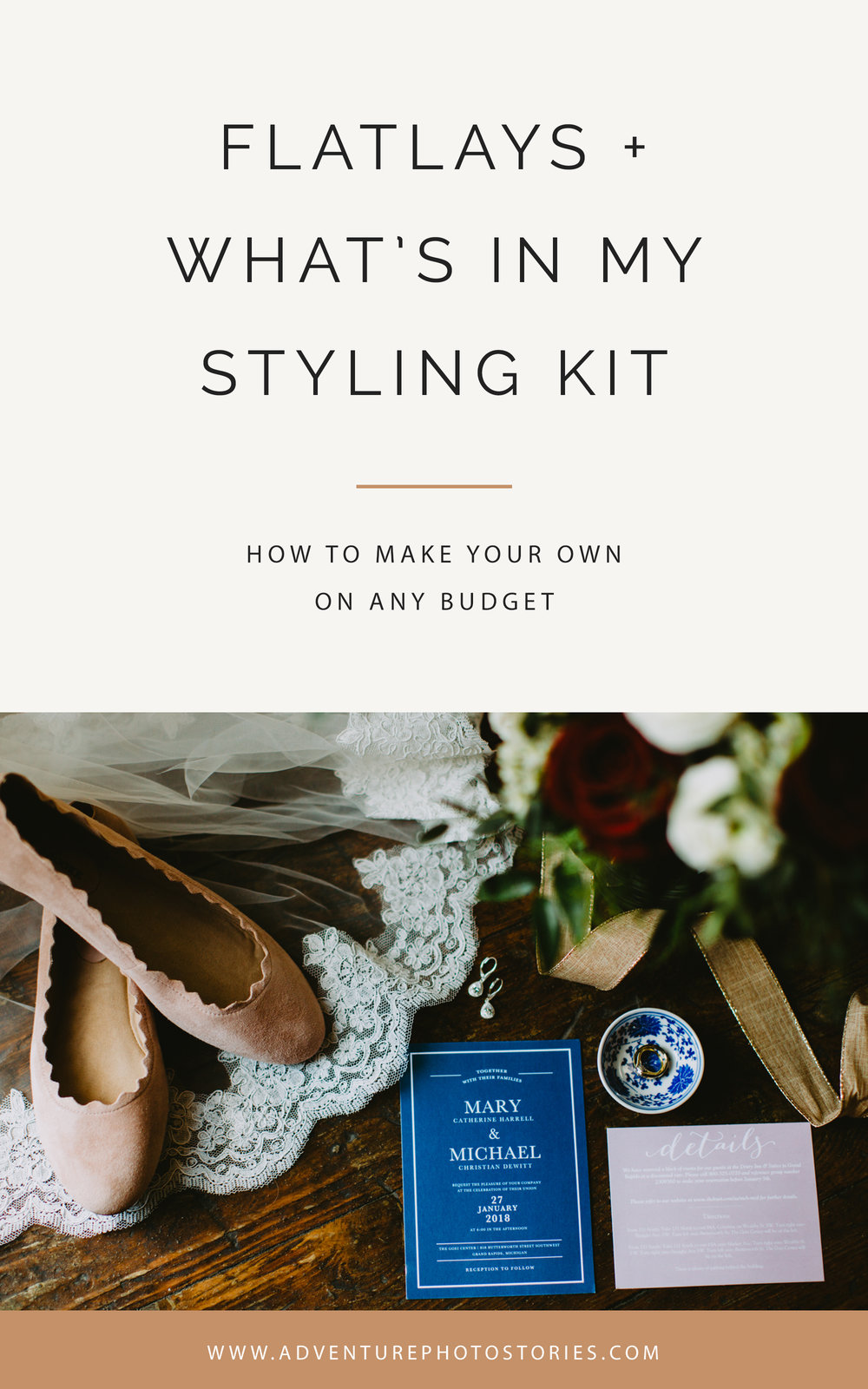 wedding photography tips / flatlays and wedding day details styling kit