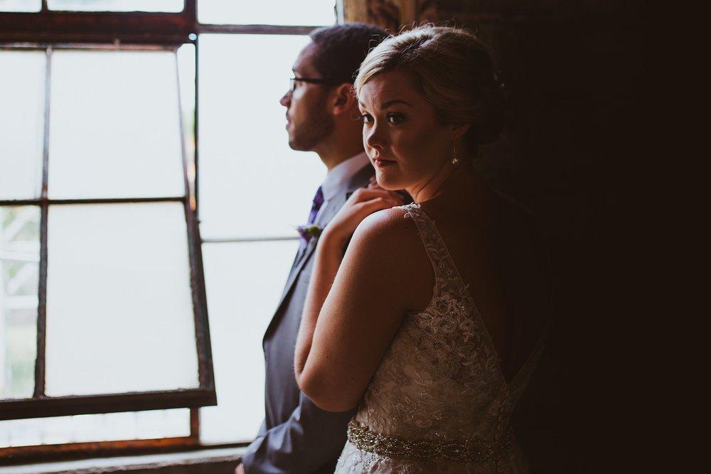 moody wedding portrait bride and groom