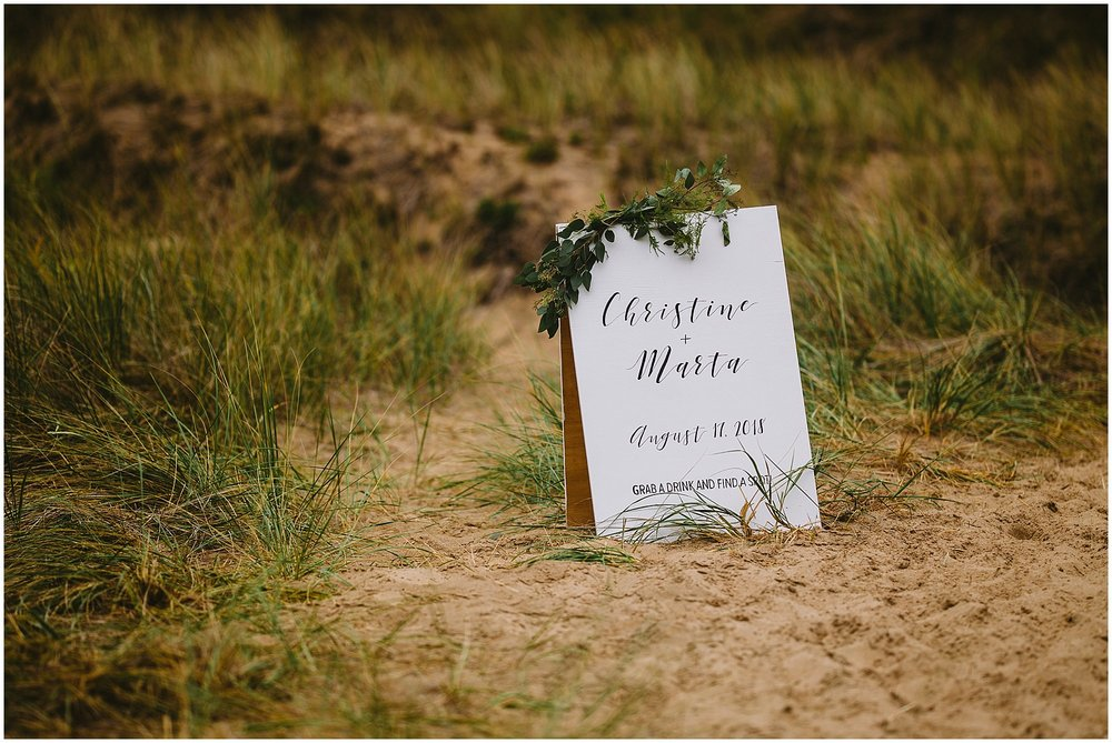 hand lettering wedding sign beach
