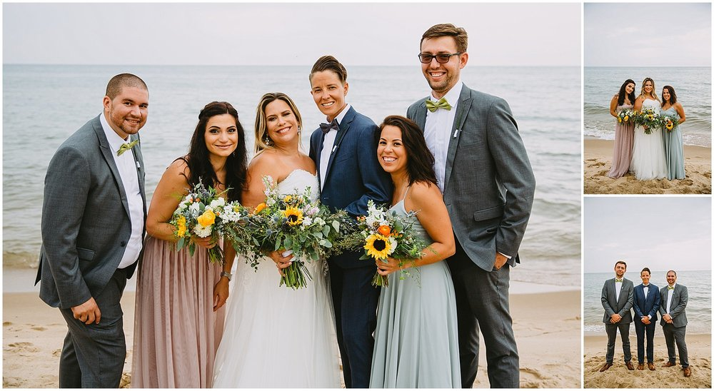 beach lgbtq wedding party wedding