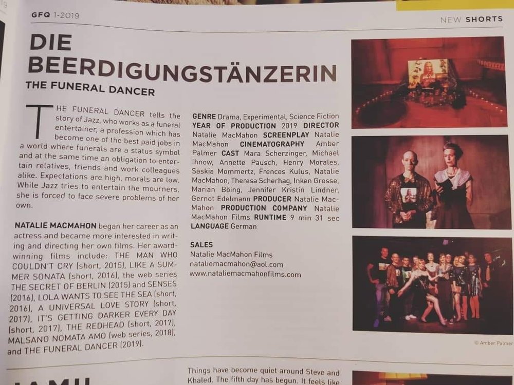 #germanfilmsquarterly  #germanfilm  #gfq  #berlinaleedition  #berlinale  #berlinale2019  #funeraldancer  #nataliemacmahon  #indiefilm  #supportindiefilm  #filmfestival  #womeninfilm  #wif  #wifg  #femaledirectors  #femalefilmmakers  #filmmaking  #kurzfilm  #shortfilm  #berlin  #efm  #filmmarket