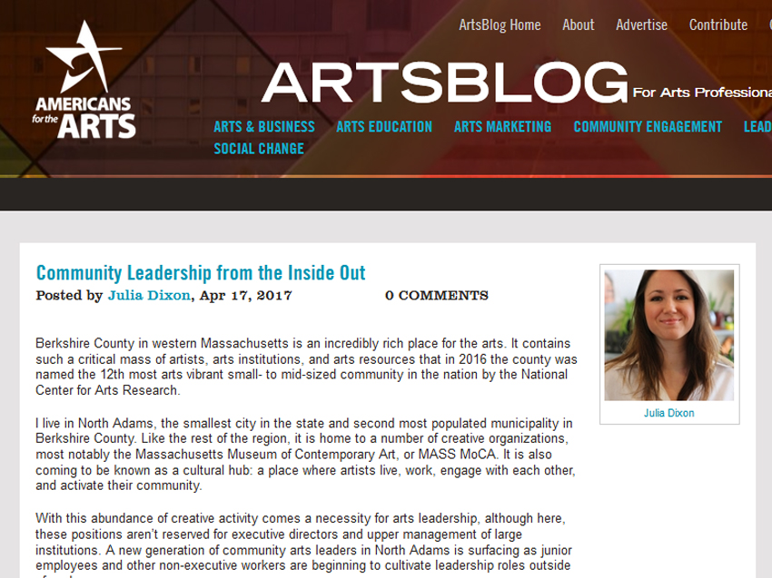 AMERICANS FOR THE ARTS  April 17, 2017 Creative Economy Blog Post