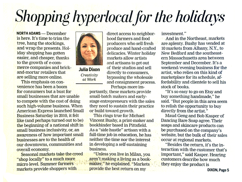 THE BERKSHIRE EAGLE  December 17, 2017 Creative Economy Column