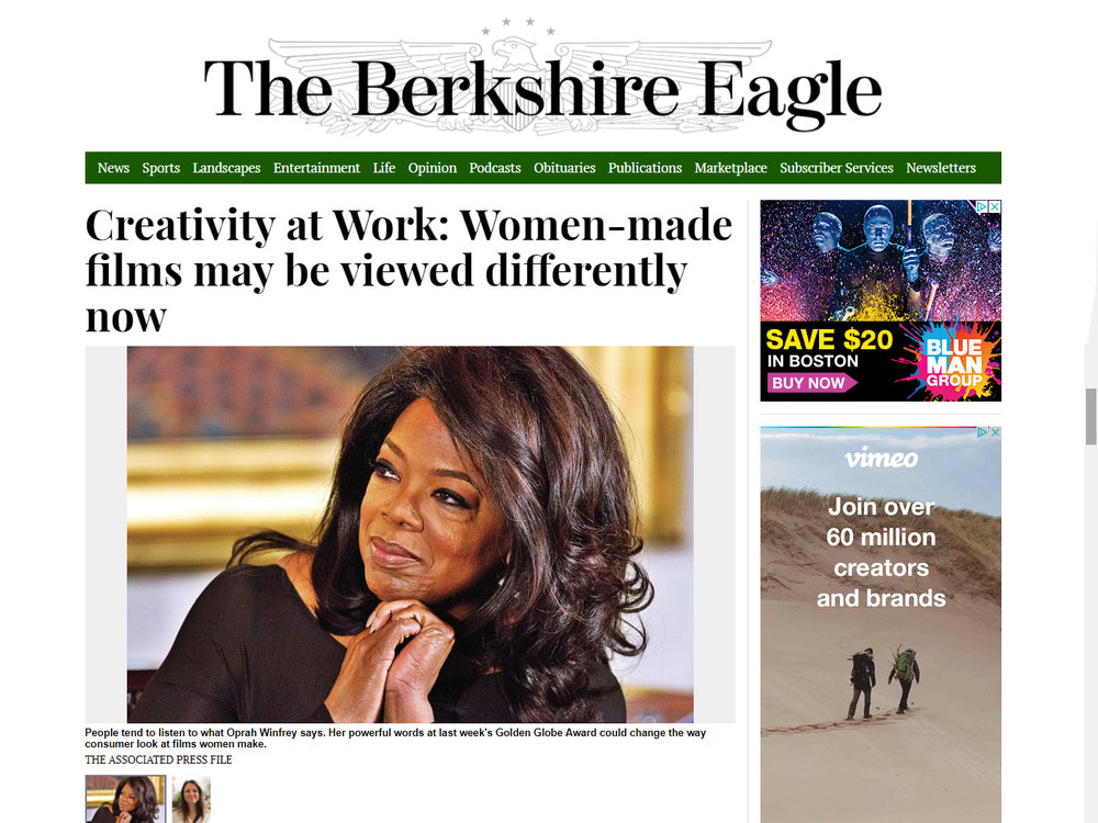 THE BERKSHIRE EAGLE  January 14, 2018 Creative Economy Column