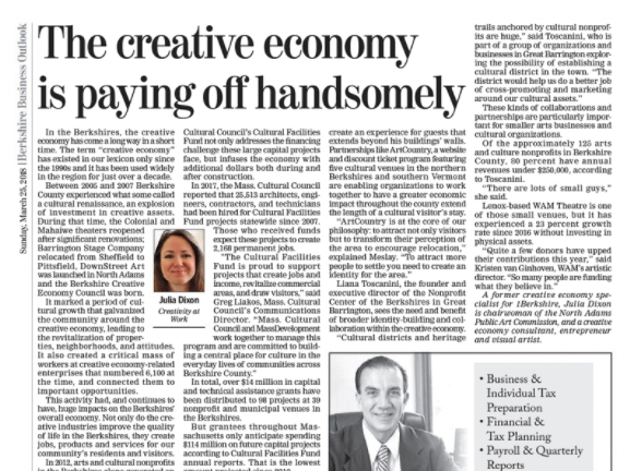 THE BERKSHIRE EAGLE  March 25, 2018 Creative Economy Article