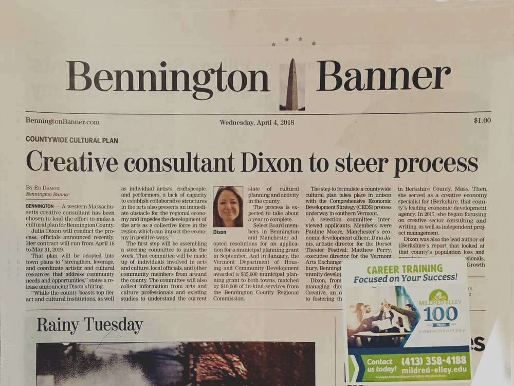BENNINGTON BANNER - Dixon selected to create county-wide cultural plan