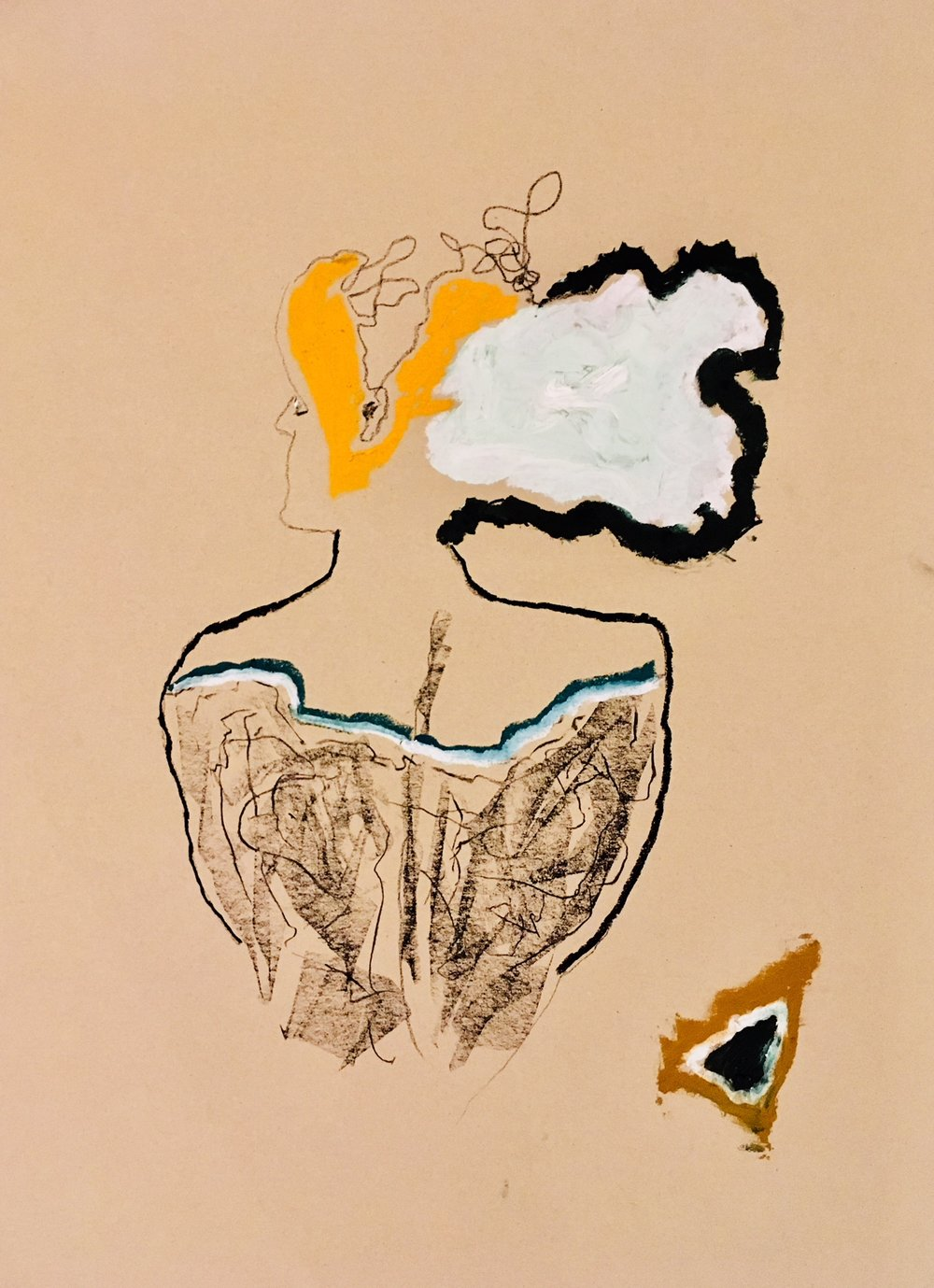 'In Solitude' - 2018 59x42cm. oil/charcoal