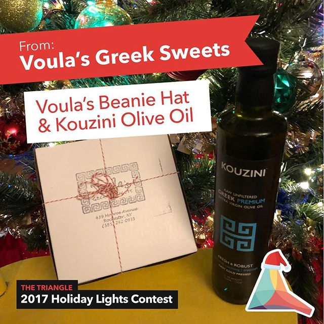 We are going live tomorrow night to reveal the winner! Check out our Facebook page to get a reminder :) Our winner will receive a @voulasgreeksweets beanie hat and @kouzinifoods olive oil! More prize reveals to come! #holidaylightscontest #trythetriangle #thisisroc #voulasgreeksweets #eatlocal #smallbusiness #rochester