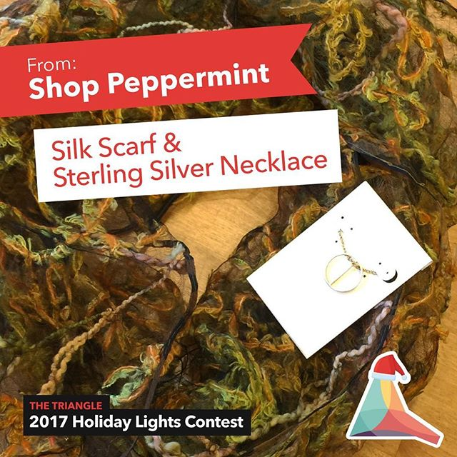 Our final Triangle Holiday Lights Contest prize reveal! Thanks to @shoppeppermint, the grand prize winner will receive a silk scarf and sterling silver necklace :) Stay tuned! We are going live on Facebook in about an hour! #holidaylightscontest #trythetriangle #shoplocal #boutique