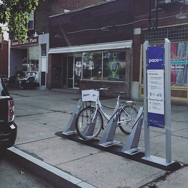 Join us tomorrow morning for the first @pacebikeshare Rochester Bike Convoy to Work event. Meeting at 7am at The Greenhouse Café. We will bike from @triangleofnwv / @northwintonvillage to the Liberty Pole @downtownrochesterny! We are welcoming the new Pace Bike Share Expansion into our neighborhood with a station by James Brown Place, The Greenhouse Café, and Laughing Gull Chocolates (coming soon). #biketowork#bikeconvoy #trythetriangle #pacebikeshare #rochesterny