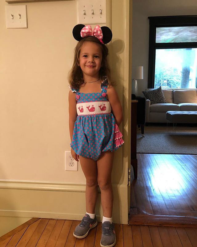 And on Wednesday we wear rompers, sneakers and Mini Mouse ears. 😂 #clairejanebradley