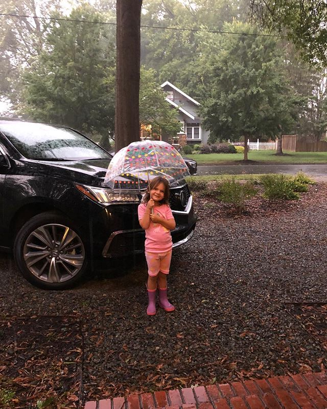 She's been waiting all day to break our her new umbrella!  #clairejanebradley