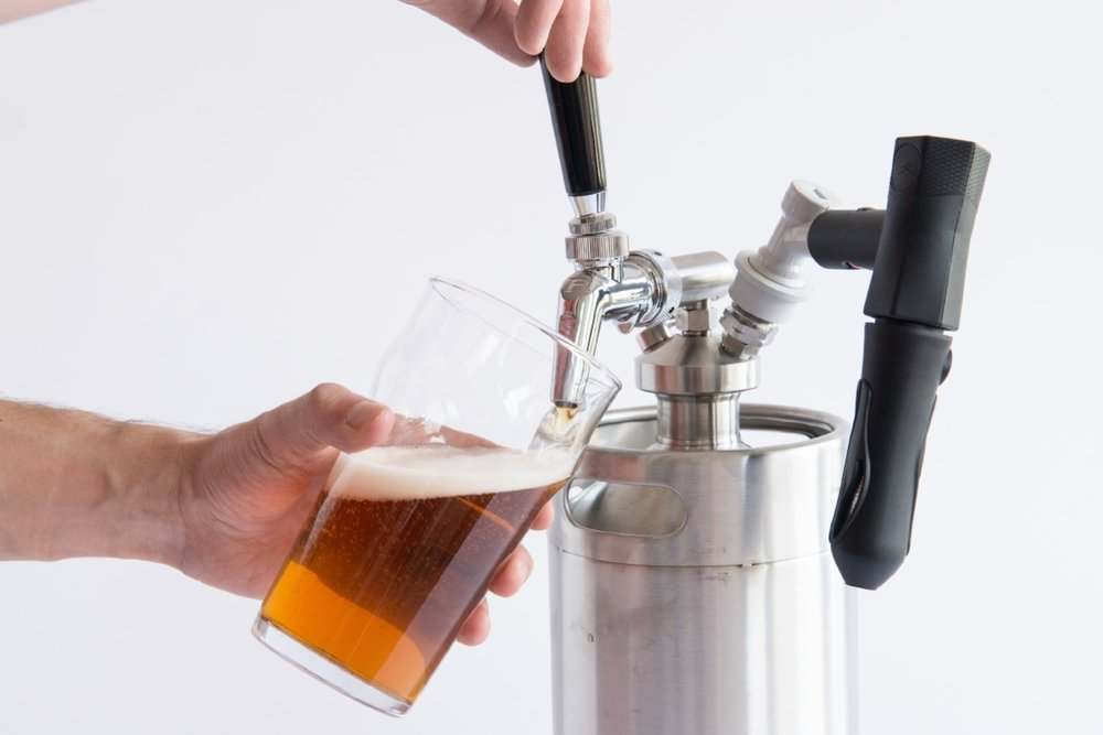 Serve beer right from the tap!  - ManCan is an indestructible, stainless steel keg-style growler designed to keep beer fresh until it's gone!