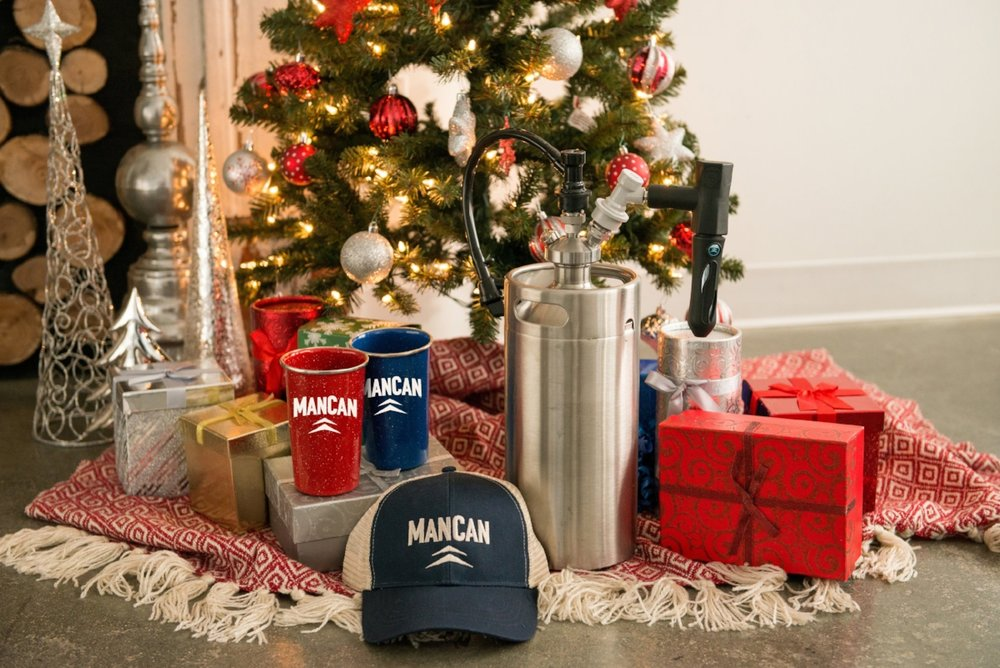 The Perfect Gift! - Give the gift of fresh beer this year with our Holiday Package and new ManCan Koozies! Orders must be in by 12/18 to receive before Christmas.
