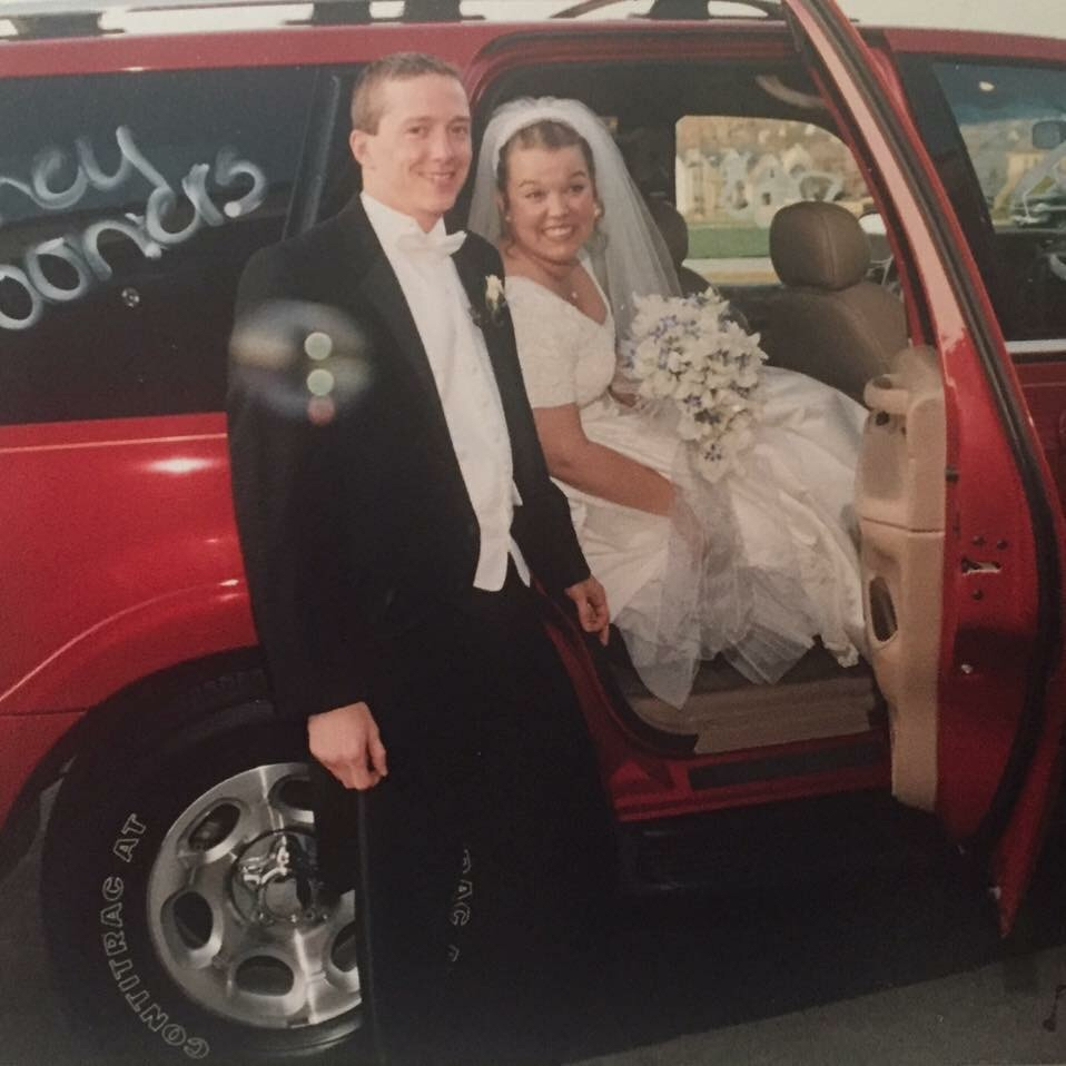 Jenny & Pat on their wedding day - (the only thing it was missing was ManCan)