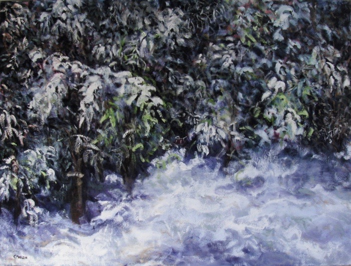 """Walk in the Woods"" (4) Winters Queen oil on canvas 24""x36"""