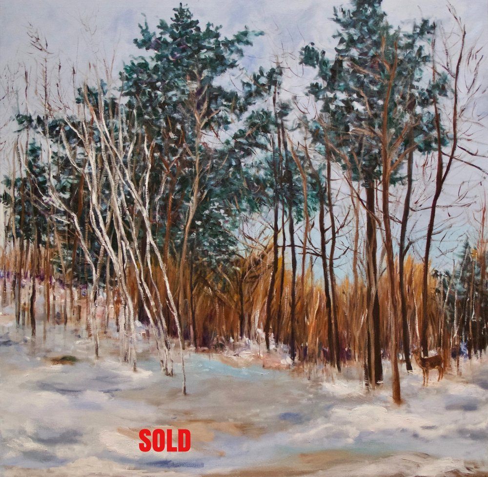 """""""Walk in the Woods"""" (2)  40""""x40"""" oil on canvas SOLD"""
