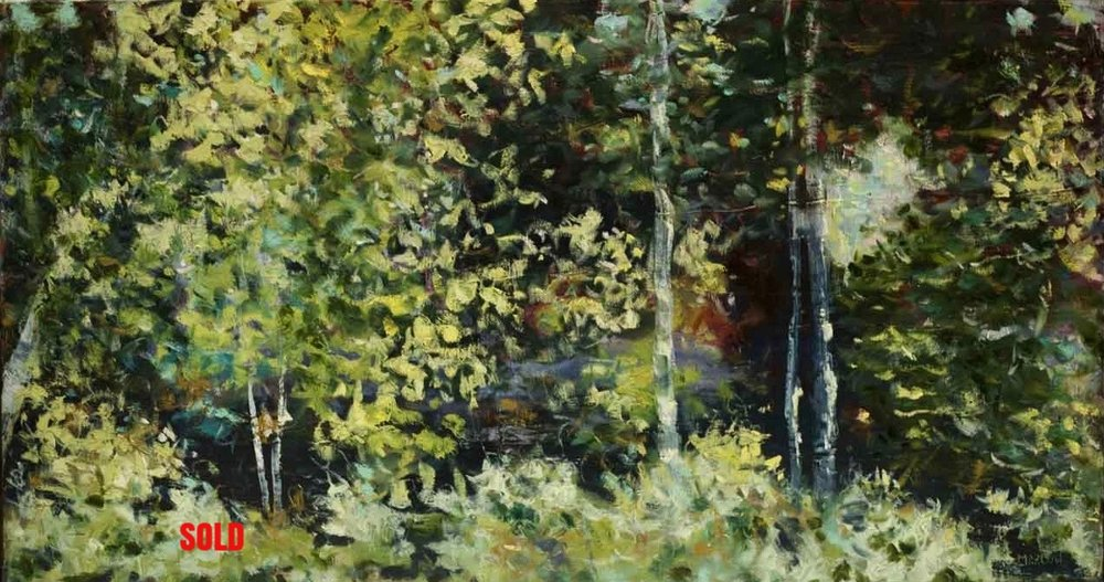 """""""Walk in the Woods"""" (3)  18""""x36"""" oil on canvas SOLD"""