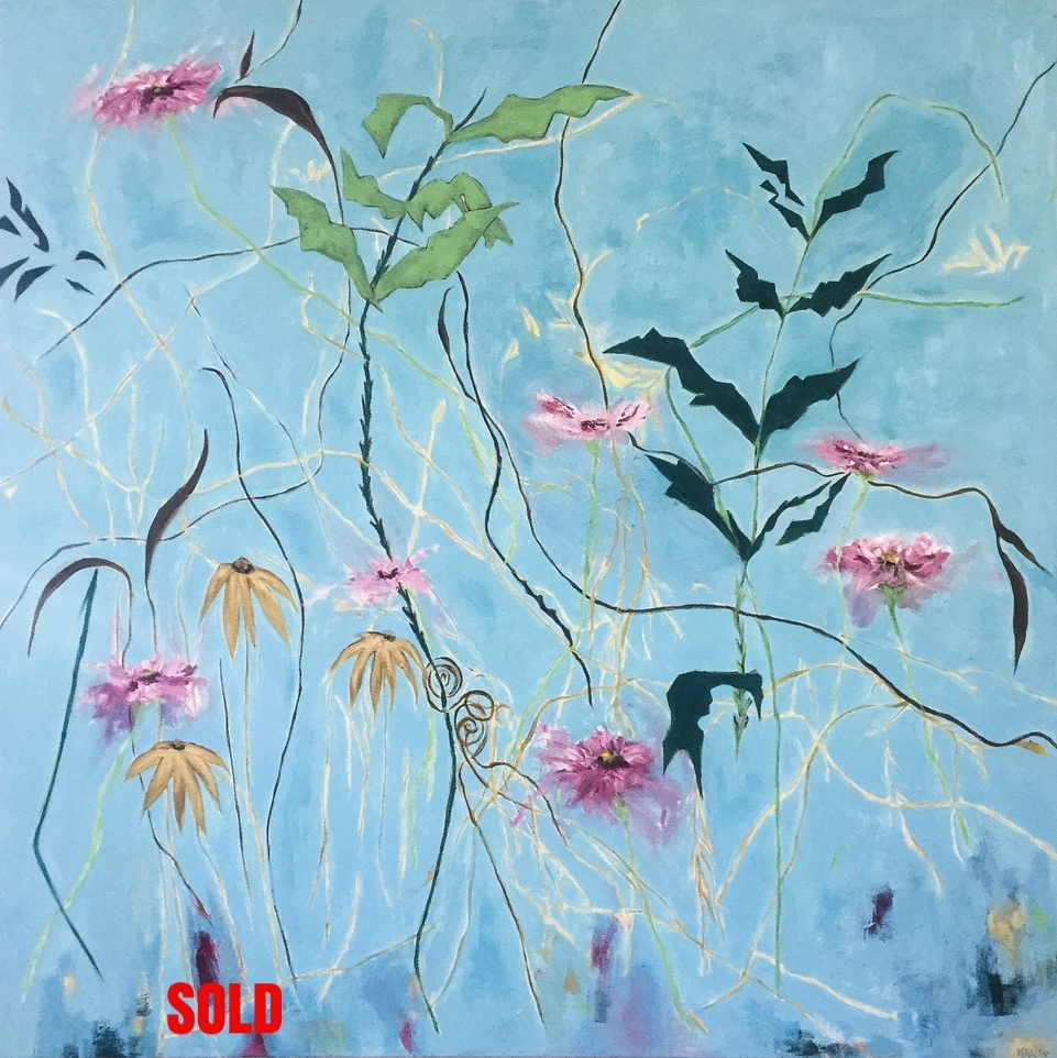 "Wallflower Blues 40"" x 40"" oil on canvas $1400.00  SOLD"