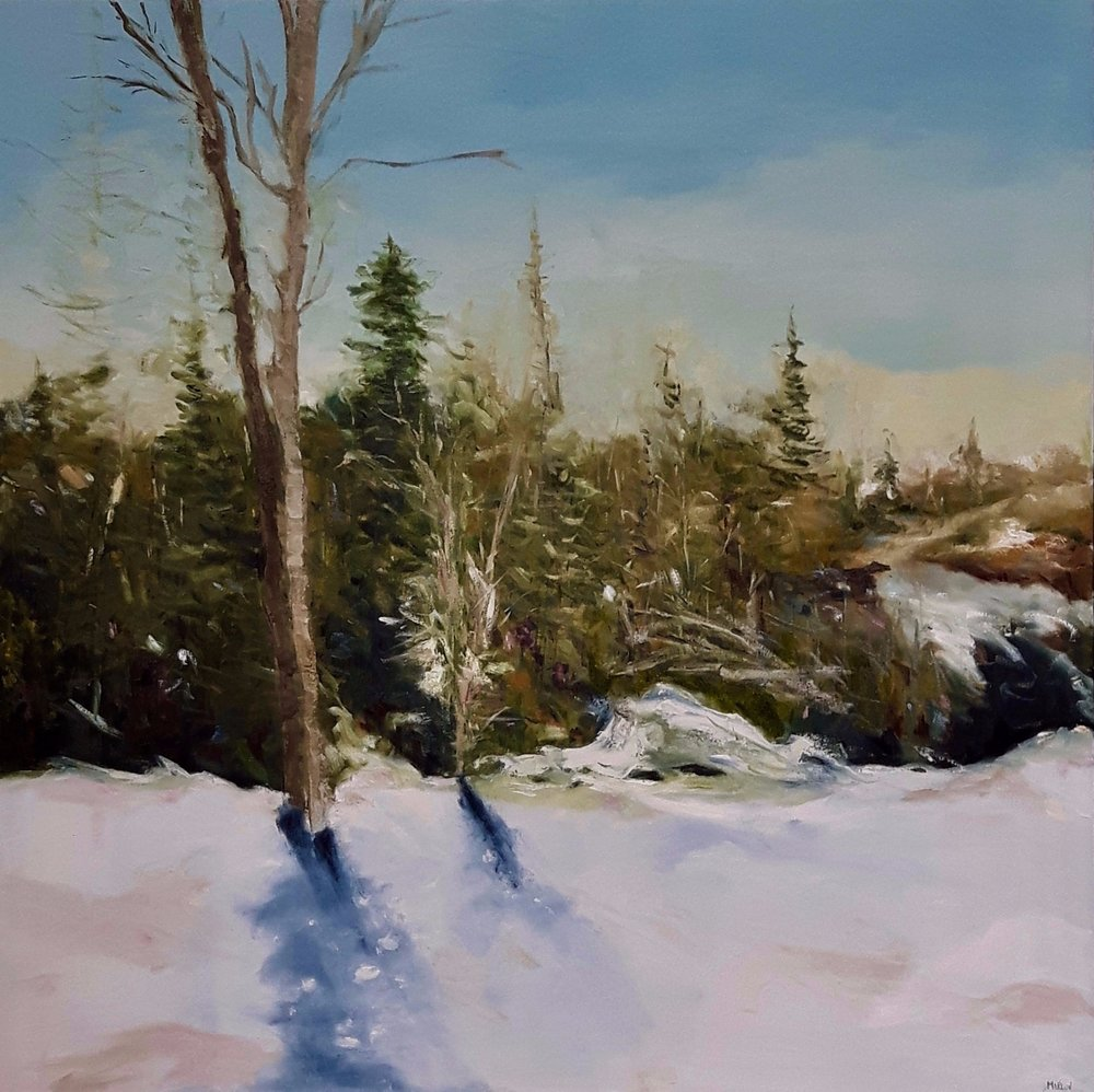 """Walk in the Woods"" (1)  40""x40"" oil on canvas $1400.00"