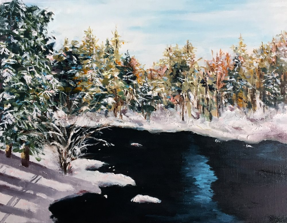 """""""CRISP AND COLD , MT. TREMBLANT""""  OIL ON WOOD GALLERY WRAP 12"""" X 16"""" X 1 1/2"""" $500.00"""