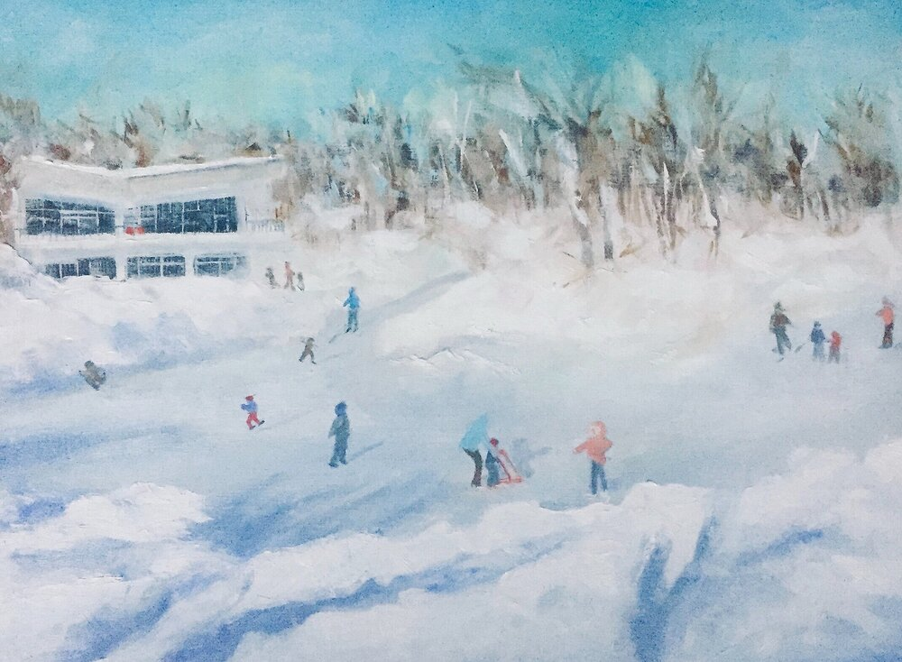 """SKATING ON BEAVER LAKE MT. ROYAL""  OIL ON WOOD GALLERY WRAP 12""X 16""X 1 1/2"" CAD $500.00"