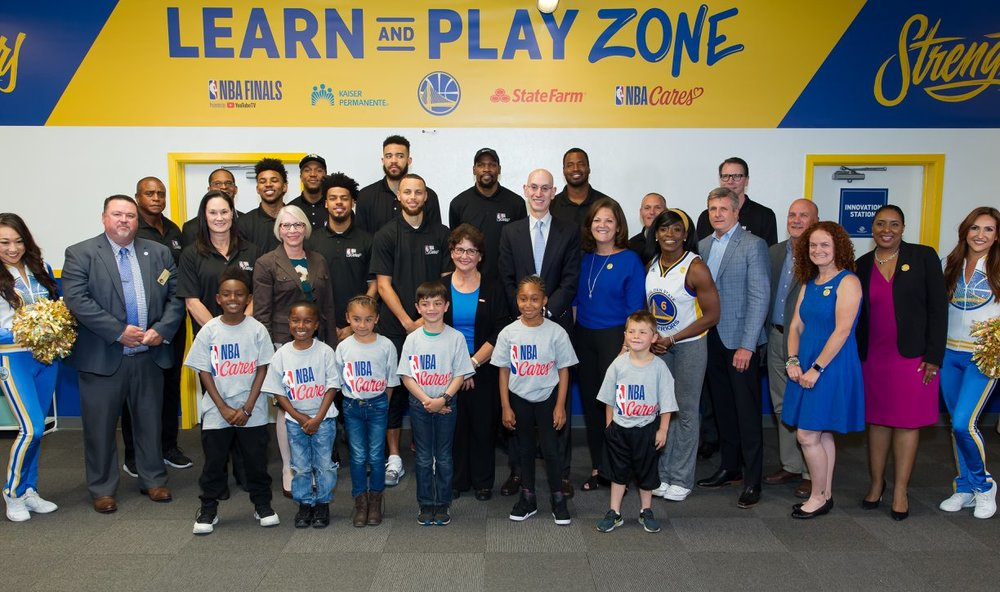 NBA and Golden State Warriors dedicate a NBA Cares Learn Play Zone at the Boys & Girls Club of San Leandro