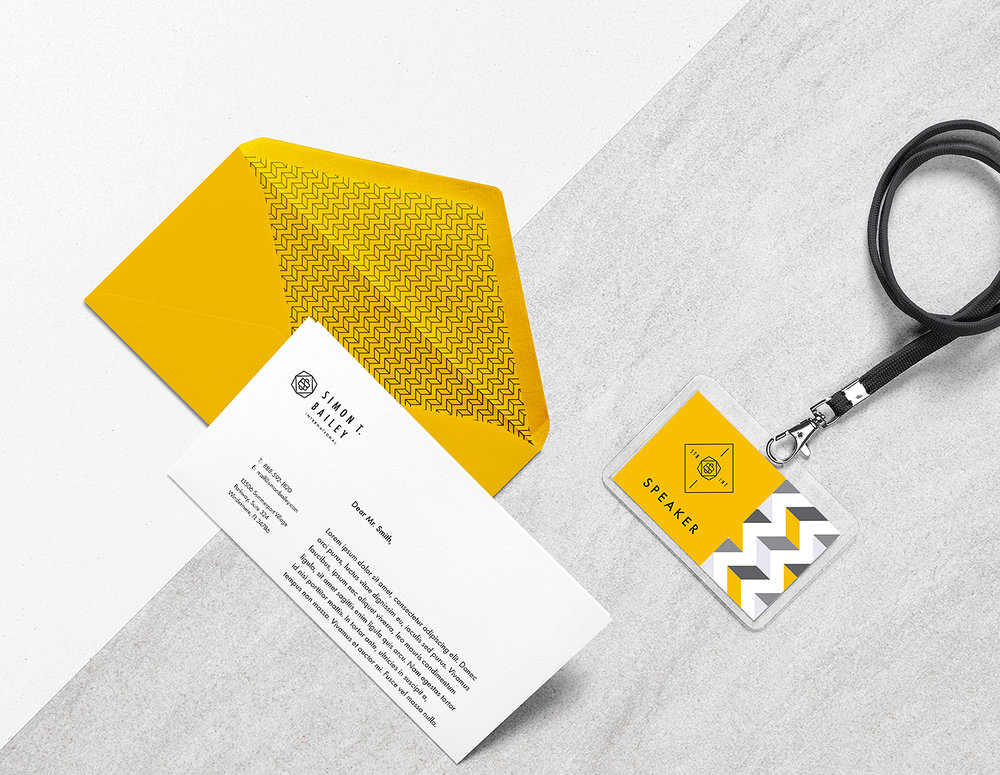 Stationary with speaker's badge (from brand board)