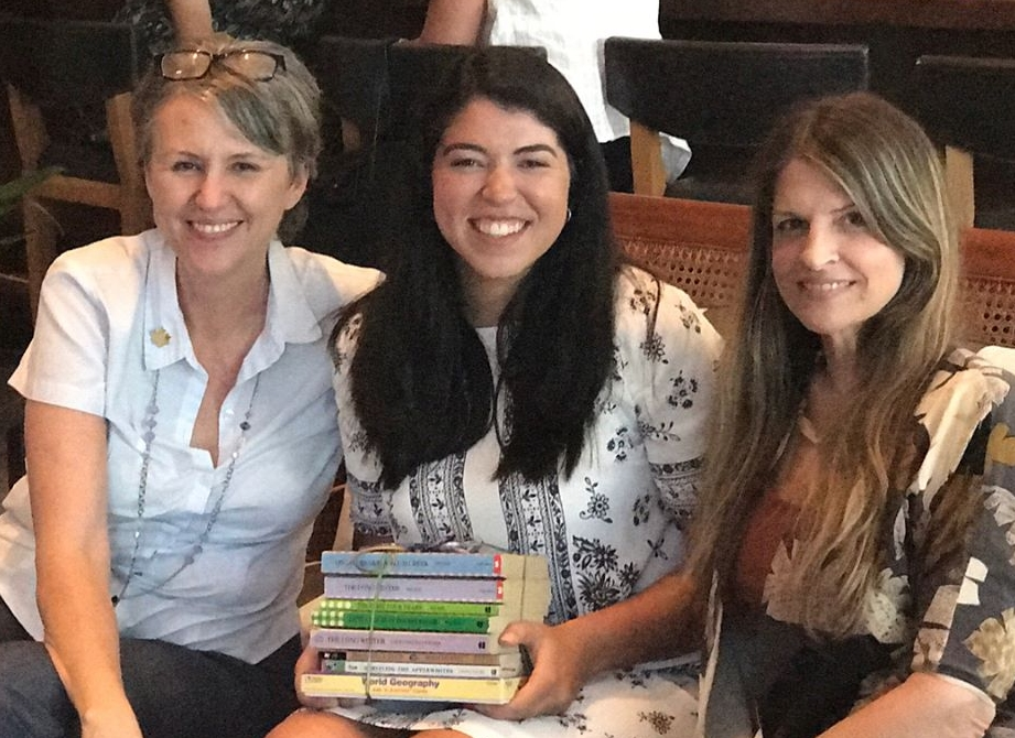 Jean Blackwell Font (Warehouse 4726), Nicole Font (1st Year Teacher) and Kara Accettola (Little Sages Books) at The Shelfie Project Kick Off Event, 8/2/17