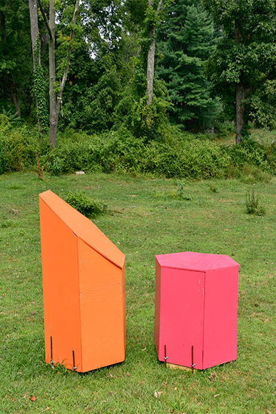 Two Hexagonal Forms, Orange and Pink