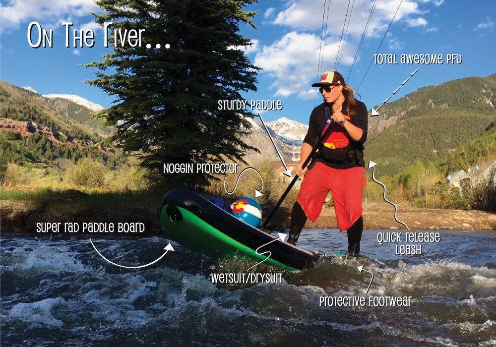 Essential river SUP gear.