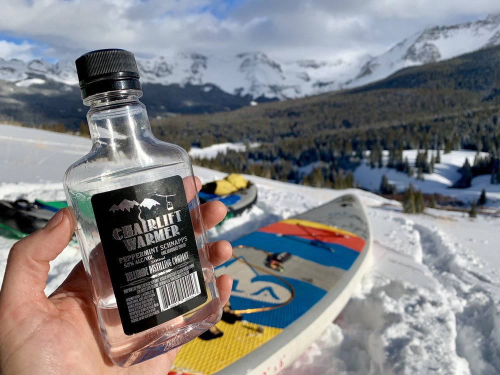 A little liquid courage never hurts! Thank you for warming our bones and giving us the courage to take on adventures  Telluride Distilling Company !