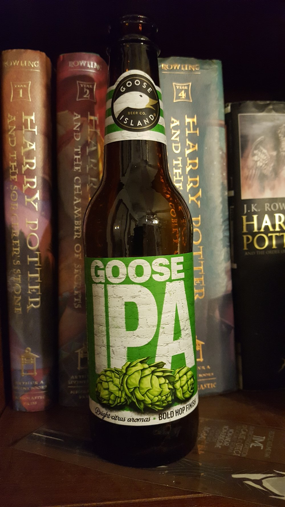 - Goose Island: Goose IPAListen to EP2: Goose Island (08/01/2017)Style: India Pale Ale  ABV: 5.9%  IBU: 55WDB Color Scale: Dino DNA AmberWDB Says: The best IPA Cathy has ever tried!  No sarcasm, no fake politeness.  It opens with a nice malty taste, and it takes just a little bit for the hops to overwhelm you.  Check out the video on the blog of Cathy trying the IPA.  It was Katie's favorite of the episode. Learn More at Goose Island's Website!