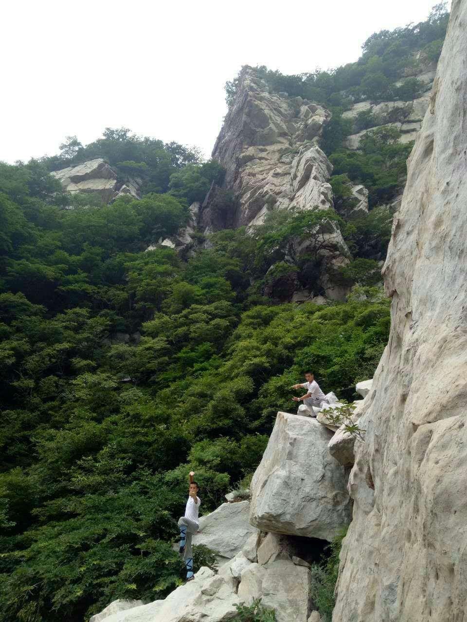 Colorado Kung Fu Demo Team Captains at the Shaolin Temple. (Shi Miao Jie & Shi Miao Da)