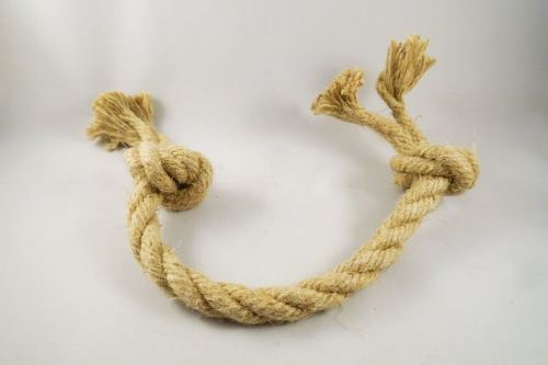 Raw hemp rope dog tug