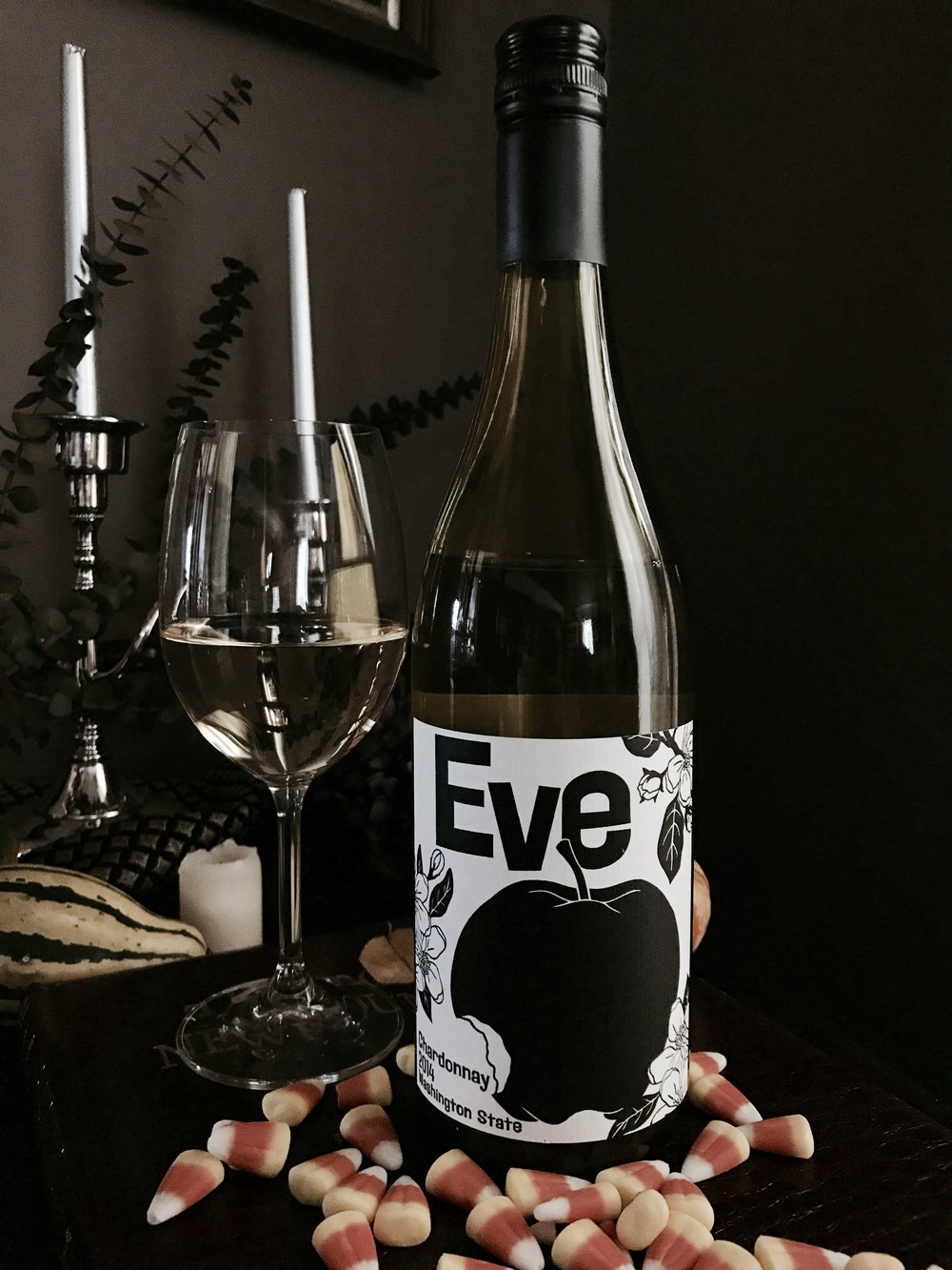 eve chardonnay 2014 wine halloween candy pairing candy corn