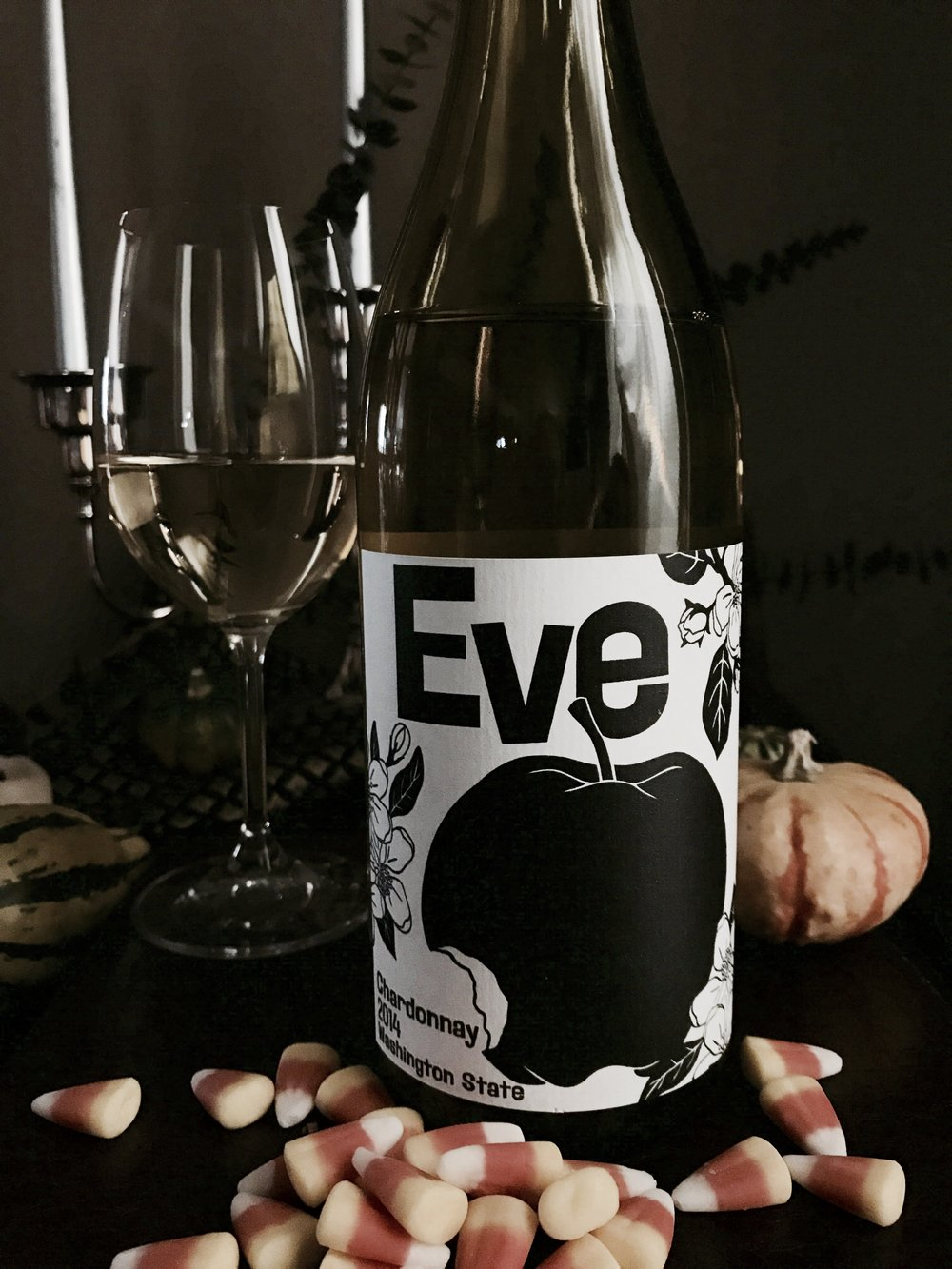 eve chardonnay wine halloween candy pairing candy corn