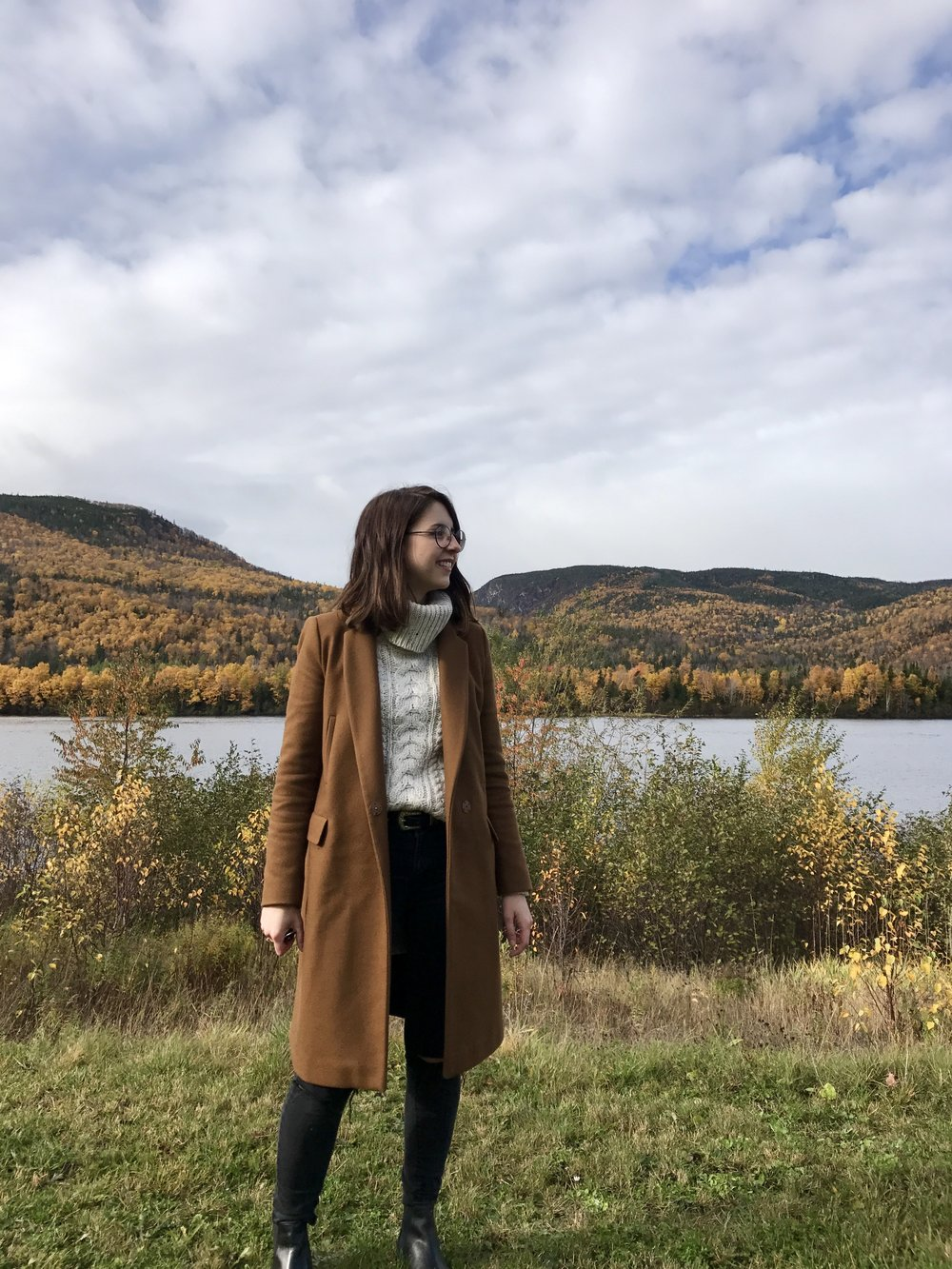 lauren dawe long wool coat turtleneck fall outfit corner brook