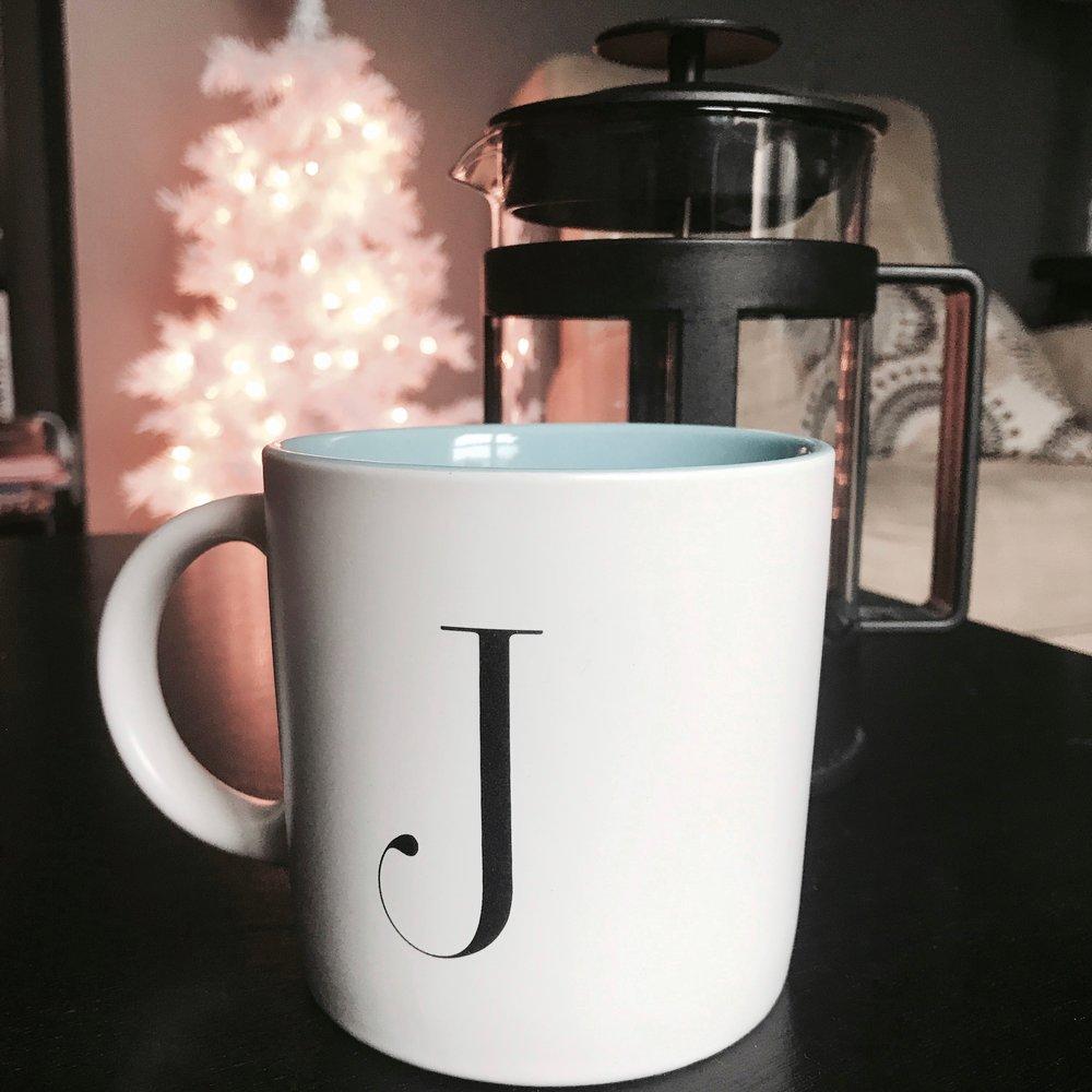 Mug and a French Press - Mug available at Chapters and indigo.ca, Press available at Wal Mart