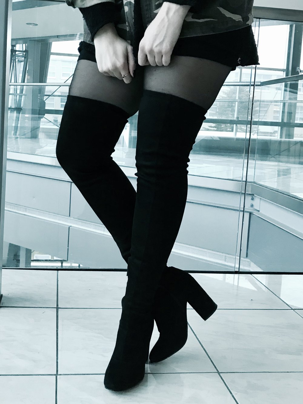 thigh high boots black short black dress ootd