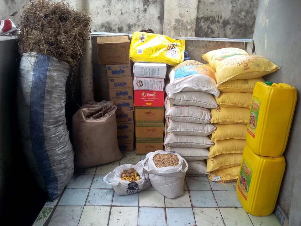 One of our monthly food deliveries.