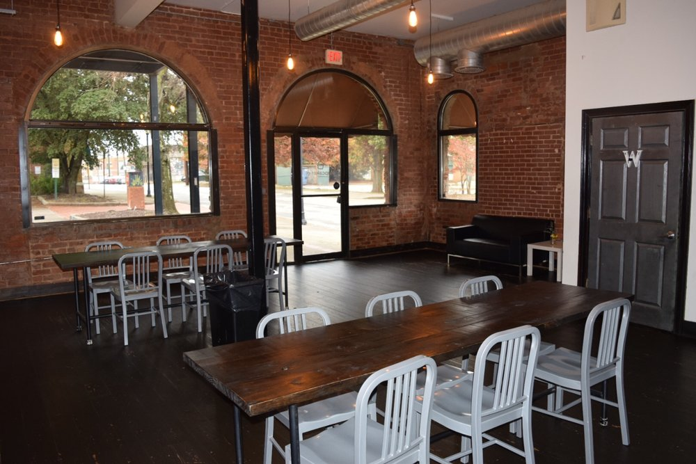 East Point Ga - Events are made to be memorable. This space will help you do just that. Exposed brick and ductwork, modern lighting. Create memories that are chic and stylish. We provide the setting. You bring the ambiance. We're here to serve all your event needs, from bridal showers to art shows, and everything in between. We are your place for Atlanta event space rental.This location seats approximately 50 guest seated and 70 guest standing. This venue will include: Cocktail Tables, Round\Folding Table (Per request), Chairs, and an Event Helper\Coordinator. This location allows outside catering but no smoking, no hookah, and no outside cake vendors.Package: (Monday -Thur $85 per hr) (Friday -Sun $100 per hr)Make it a package and pair this venue you our 1.0 and 2.0 package !!
