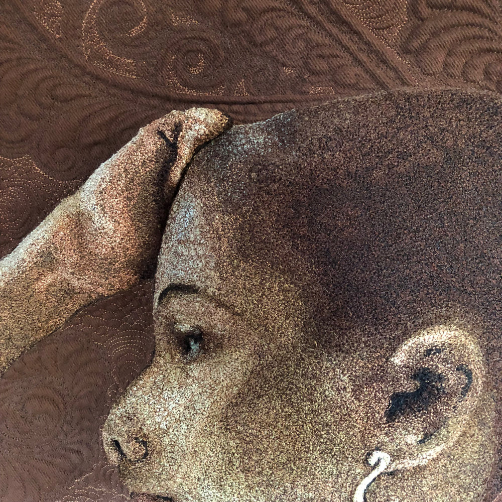 Entropy Always Wins -Hello Stitch Gallery, Berkley CA (2019) - Nude is not a Color & Levi's Radiograph Improv. - pieced by Hillary Goodwin & quilted by Rachael DorrImage: Detail of thread painting on Nude is not a Color