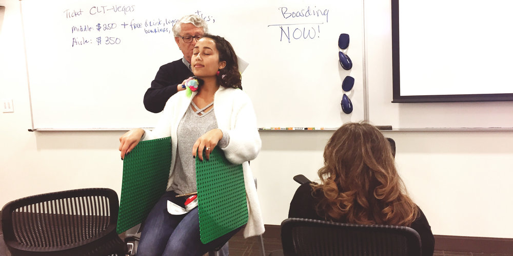 I taught a class of professionals at Wake Forest University's design thinking certificate program to build rapid prototypes. In this example, teams worked together to improve the middle passenger experience on commercial flights.