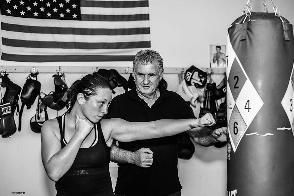 Martin Grealish dishing out some boxing tips to Jessica Lang Perry, trainer and one of the  women members of Grealish Boxing Gym, Dorchester.